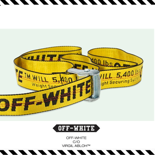 4b527df0145f Best Version New Arrival 2016 Fall Winter OFF-WHITE C O Virgil Abloh Belts  Industrial Belt Yellow Ribbon Letter Fashion Hiphop
