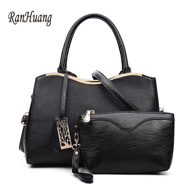 ФОТО RanHuang Women Fashion Composite Bag PU Leather Ladies Small Shoulder Bags Black Messenger Bags Designer Handbags bolsa feminina