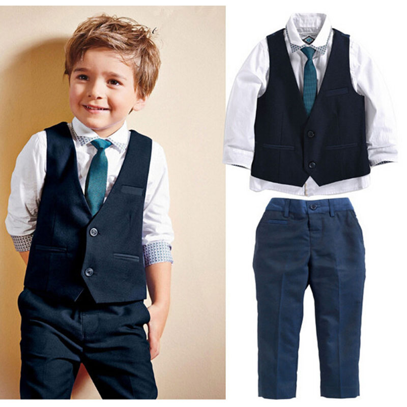 Spring Autumn Kids Gentleman Leisure Handsome Fashion Wedding Formal Clothes Suit 4Pcs New Boys Clothing Sets 1 2 3 4 5 6 Years