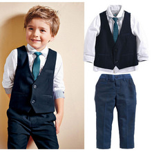 Spring Autumn Kids Gentleman Leisure Handsome Fashion Wedding Formal Clothes Suit 4Pcs New Boys Clothing Sets 1 2 3 4 5 6 Years 2017 boys clothing sets autumn spring shirt vest pants children wedding clothes kids gentleman leisure handsome blouse suit