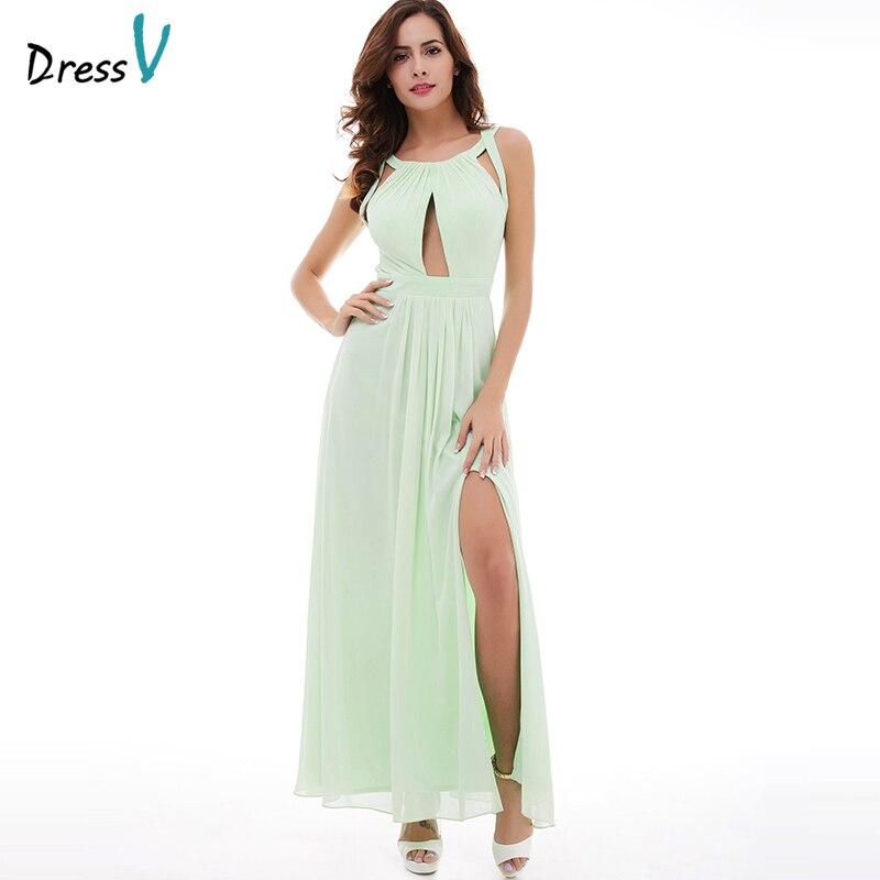Dressv mint green halter neck evening dress sleevesless split-front a line criss-cross straps long evening dresses