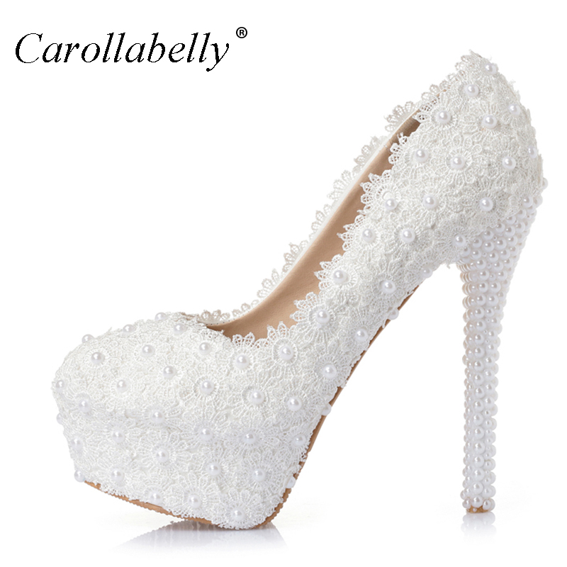 Sweet Flower Women Pumps High Heels Lace Platform Pearls rhinestone Wedding Shoes Bride Dress Shoes all heel height can make handmade crystal pearl beading ankle boots for 2018 woman sweet lace flower platform high chunky heels pumps wedding dress shoes