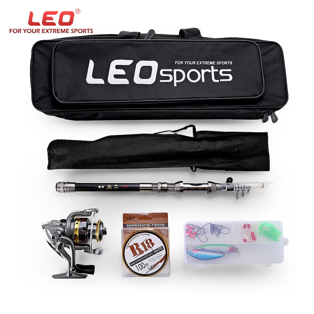 LEO 1.5/1.8/2.1/2.4M Telescopic Fishing Rod Reel Combo Full Kit Spinning Reel Pole Set with Fish Line Lures Hooks Bag Case купить