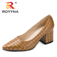 ROYYNA New Arrival Fashion Style Women Pumps Pointed Toe Women Office Shoes Square Heels Lady wedding Shoes Fast Free Shipping