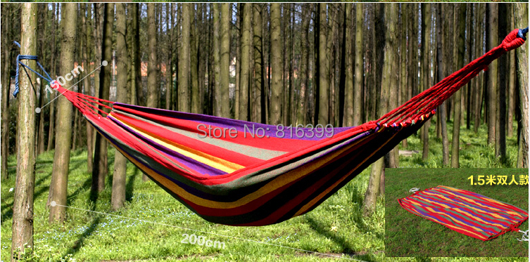 Free Shipping    80*200cm   New Huge Double Cotton Fabric Hammock Air Chair Hanging Swinging Camping Outdoor Red