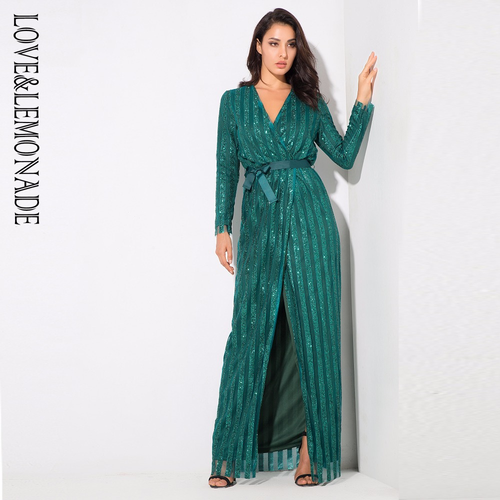 Love&Lemonade .  Stripes Cross V Collar Body Long Dresses Green/Silver/Gold/Black/Red LM0266 Autumn/Winter-in Dresses from Women's Clothing    1