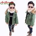 Chifave meninos jaquetas casaco de inverno sólida meninos de manga longa casaco com capuz crianças roupas da moda quente grosso roupa das crianças 2 cores