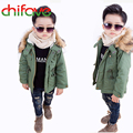 chifave Boys Jackets Winter Coat Solid Long Sleeve Boys Coat Hooded Kids Clothes Fashion Thick Warm Children Clothing 2 Colors