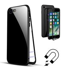 Magnetic Adsorption Phone Case Metal Magnet Absorption Screen Protector Tempered Glass Flip Cover For iPhone X 8 7 Plus