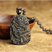 FREE SHIPPING species obsidian long necklace pendant male necklace transhipped female lucky crystal accessories pendant