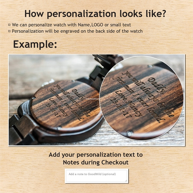 Engraved Wooden Watch for Men Boyfriend Or Groomsmen Gifts Black Sandalwood Customized Wood Watch Birthday Gift for Him  4