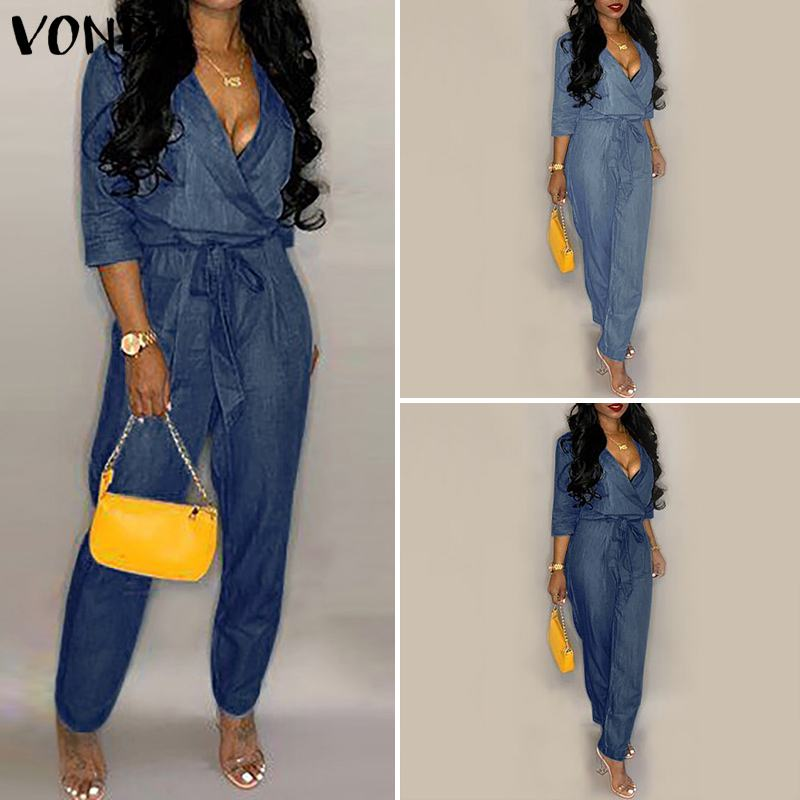 VONDA Denim Wash Overall For Summer Lady Women Fashion Cool Street Blue Women V Neck Loose Jeans Jumpsuit Long Pants   Rompers   5XL