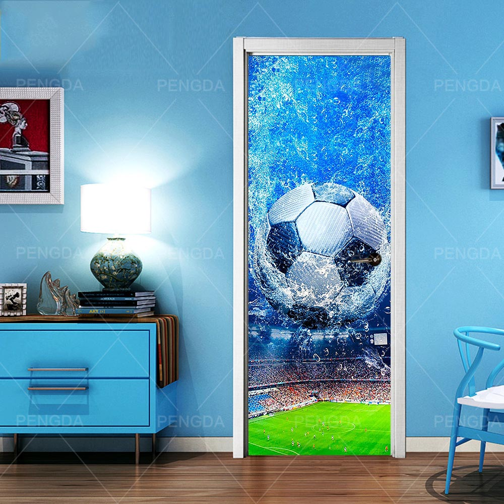 Decal PVC Waterproof Art 3D Print Soccer Sport Home Decoration Sticker Self Adhesive Diy Papers For Boys Bedroom Door Sticker