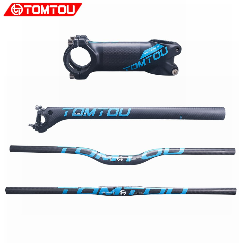 TOMTOU Matte Blue 3K Carbon Fiber Mountain Bike Handlebar + Backward Seatpost + Stem MTB Handlebars Sets Bicycle Parts - TB9T34 tomtou full carbon fiber mountain bicycle rise handlebar integrated handlebars stem mtb bike handlebar parts tc8t76