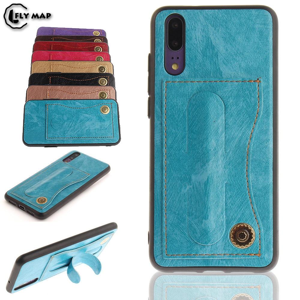 Fitted Case for Huawei P20 P 20 20P ANE-LX1 Bracket Card Holder Phone Leather Cover Coque EML-L09 EML-L29 EML L09 L29 L22 AL00