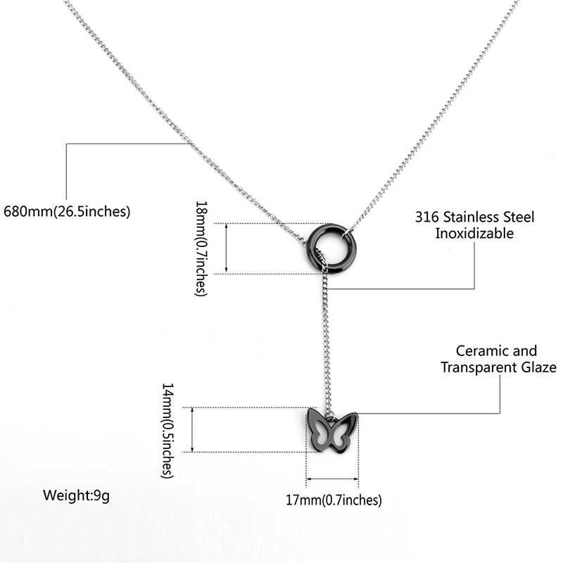 2018 пример Винтаж Керамика кофта-бабочка Цепочки и ожерелья для Для женщин Jewelry Цвет под старину ожерелье в виде животного Длинная цепочка с кулоном