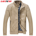 LONMMY M-4XL Men leather jacket Slim fit Thin Suede Faux PU Stand Collar jaqueta masculina Plaid coat Leather jacket men 2016