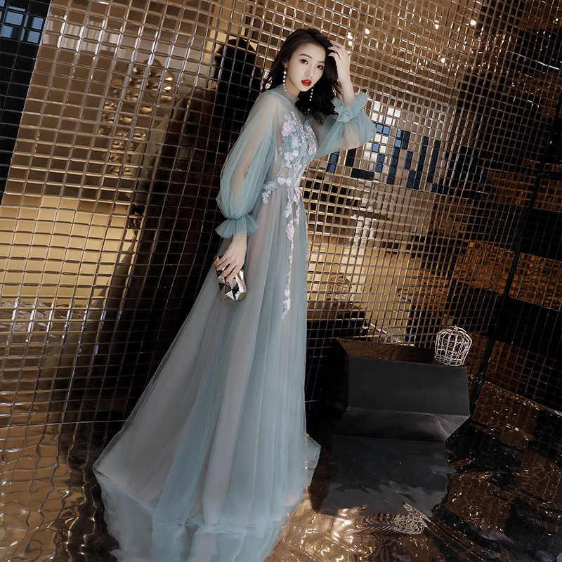 É yiiya vestido de noite apliques especiais ilusão flores vestidos formais voltar rendas até arco lanterna manga longo vestido de festa e084