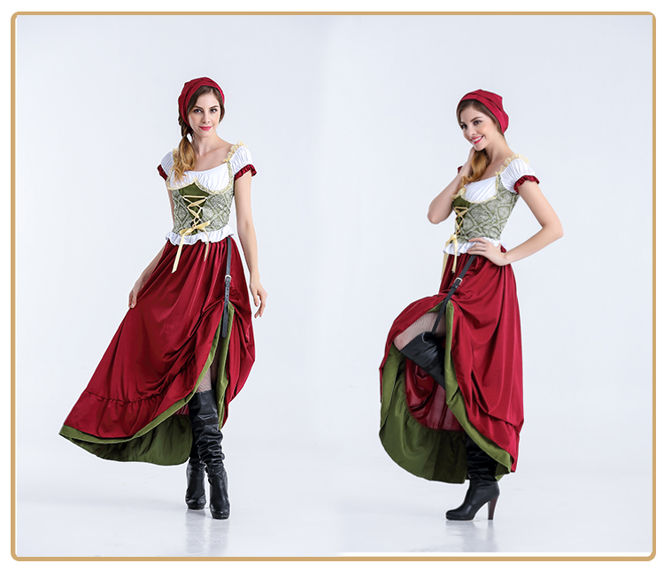 Adult Women Bavarian Oktoberfest Dirndl Costume Beer Festival Mardi Gras Ladies Sexy Funny Dress Long Outfit For Girls Plus Size-in Sexy Costumes from Novelty & Special Use