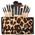 Newest Hypoallergenic Fashion 12pcs Powder Makeup Soft And Silky Wood Brush with Leopard Storage Bag Suitable For All Skin Types