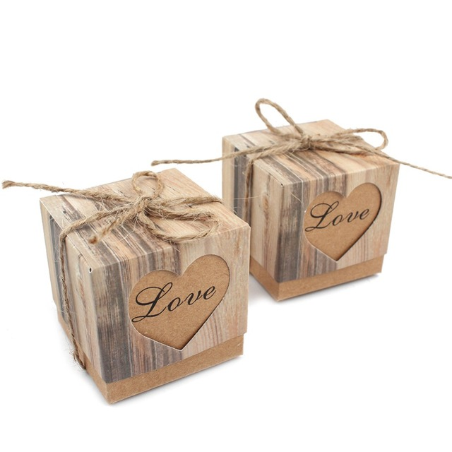 10pcs/lot Wedding Candy Box Romantic Heart Kraft Gift Box with Burlap Twine Chic Wedding Favors and Gifts Bag Party Supplies
