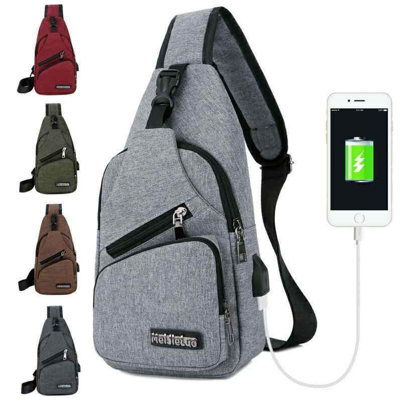 Travel 2019 Sling Shoulder USB Charge Chest Bag for Men Casual Multifunction Waterproof Crossbody Bag Women Short Trip Hot Sale