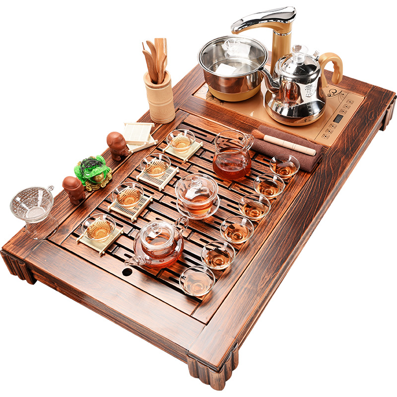 Beautiful cabinet household automatic tea set four unity of a complete set of wood from the sea ground fire wood tea table