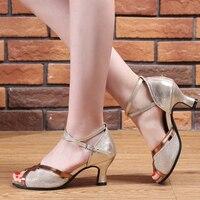 USHINE 592 Purple Black Gold Silver Heel 6cm Outdoor/Indoor Street Dance Shoes Salsa Tango Latin Shoes For Dancing Women