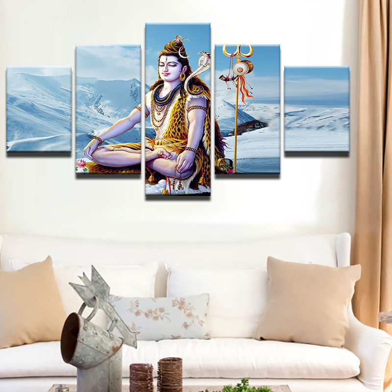 Abstract Canvas Painting Wall Art Poster Style Picture 5 Panel The God Of India Shiva