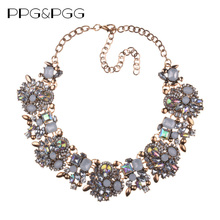 PPG&PGG New Women Fashion Jewelry Short Design Crystal Statement Necklace Bijoux Lady Chokers Bib Collar