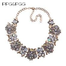 PPG&PGG New Women Fashion Jewelry Short Design Crystal Statement Necklace Bijoux Lady Chokers Bib Collar