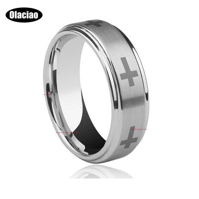 Free Shipping Step Edge Laser Engraved Catholic Crosses Tungsten Carbide Wedding Band Faithful Bands 6mm