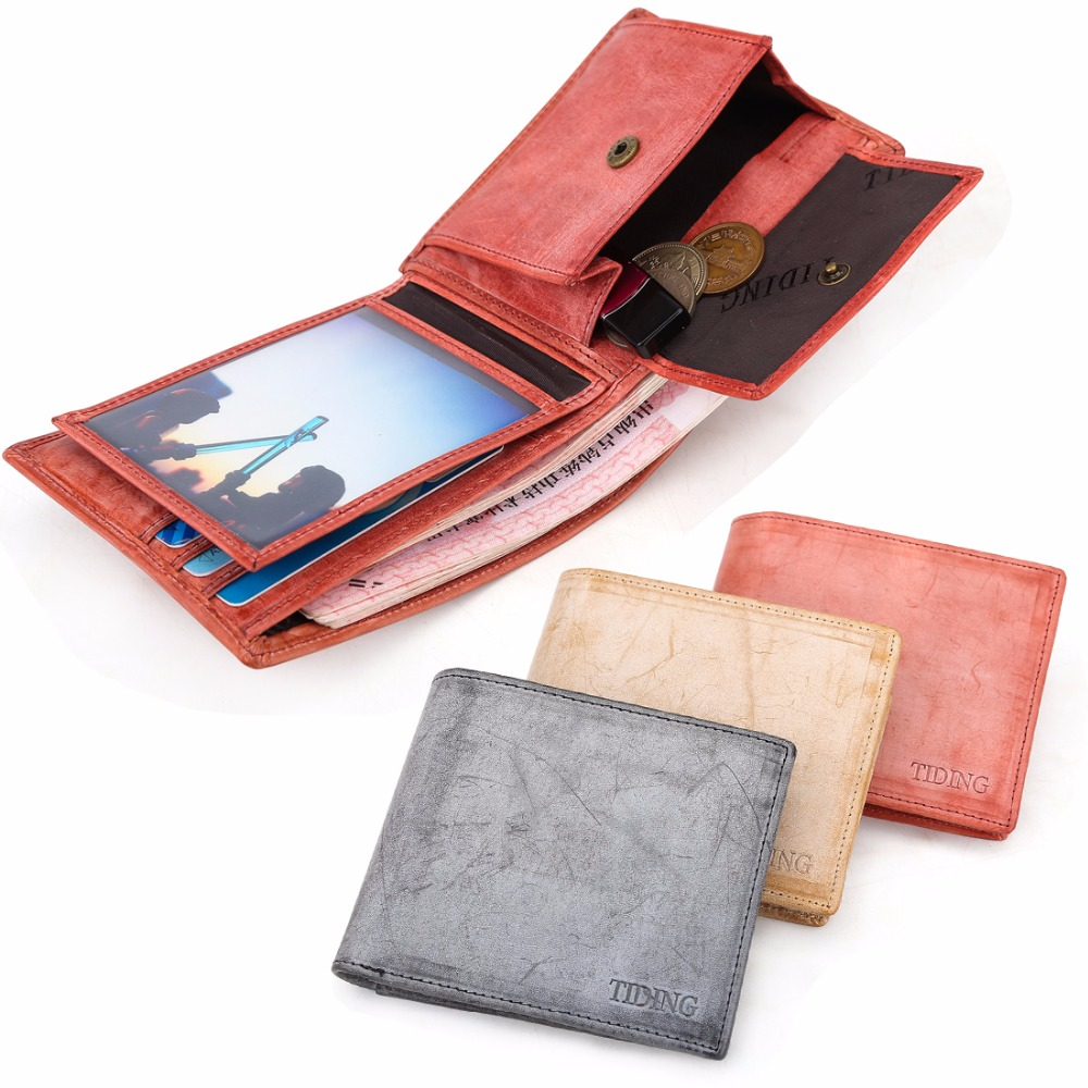 ФОТО TIDING English Bridle Leather Wallet Cowhide Purses ID Credit Card Holder Coin Pocket For Women Man 4184