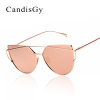 CandisGY Cat Eye Women Sunglasses Lady Fashion Brand Desinger Mirror Flat Lens Sun Glasses Female Hot