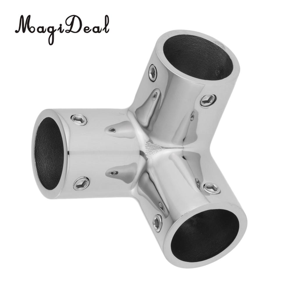 "MagiDeal Stainless Steel Boat Hand Rail Fitting 1/"" 3 Way Corner Elbow Tubing"