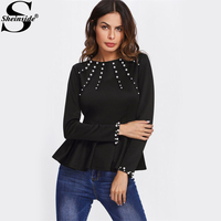 Sheinside Pearl Beading Peplum OL Style Blouse 2017 Black Round Neck Long Sleeve Ruffle Plain Top