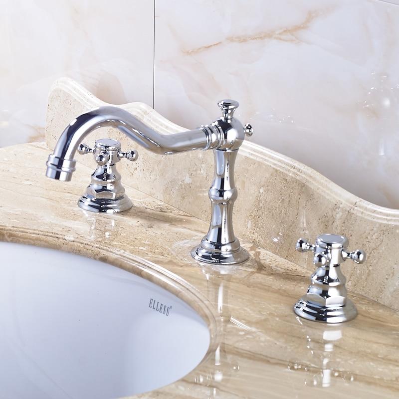 Chrome Polished Bathroom Sink Faucet 3pcs Double Handles Three Holes Basin Faucet Deck Mounted deck mount 3pcs bathroom basin sink faucet rose gold finish double handles mixer faucet