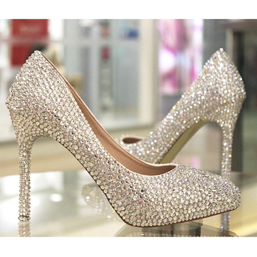 Carollabelly femmes chaussures pompes main femelle noble diamant de mariage  chaussures sexy de mode de femmes talons hauts Robe chaussures dans Pompes  de ... 54618dd27962