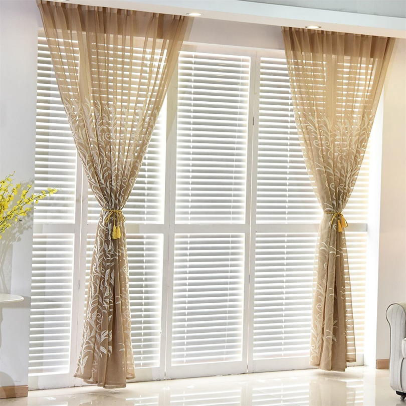 Tulle curtains living room Embroidered Voile Pastoral curtain for ...