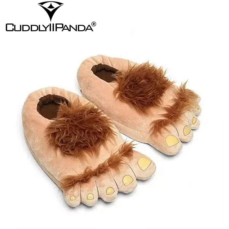 2019 Winter Furry Adventure Slippers Women Home Slippers Big Feet Hairy Halloween Pantufa Monster Hobbit Feet Plush Slippers