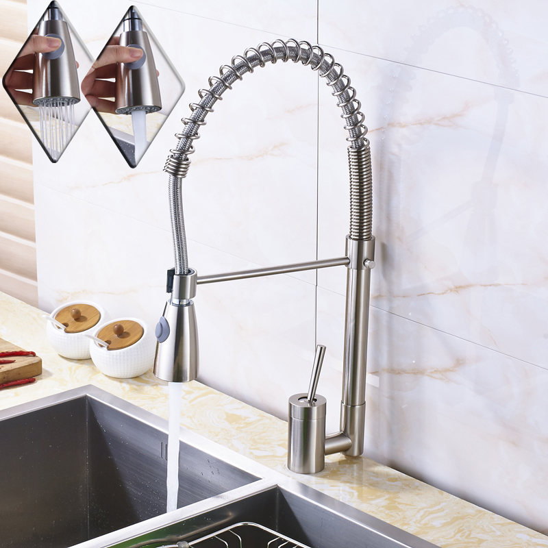 Brushed Nickel Spring Pull Down Sprayer Kithen Sink Faucet Single Lever Deck Mounted Bathroom Hot and cold Kitchen Mixer Taps deck mounted nickel brushed kitchen sink faucet 75cm height bathroom kitchen hot and cold water mixer taps