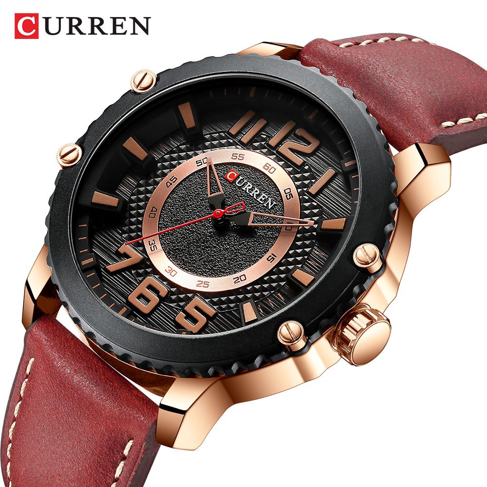 CURREN Men Watch Fashion Waterproof Leather Strap Wristwatch Casual Creative Red Big Dial Quartz Watch Relogio Masculino