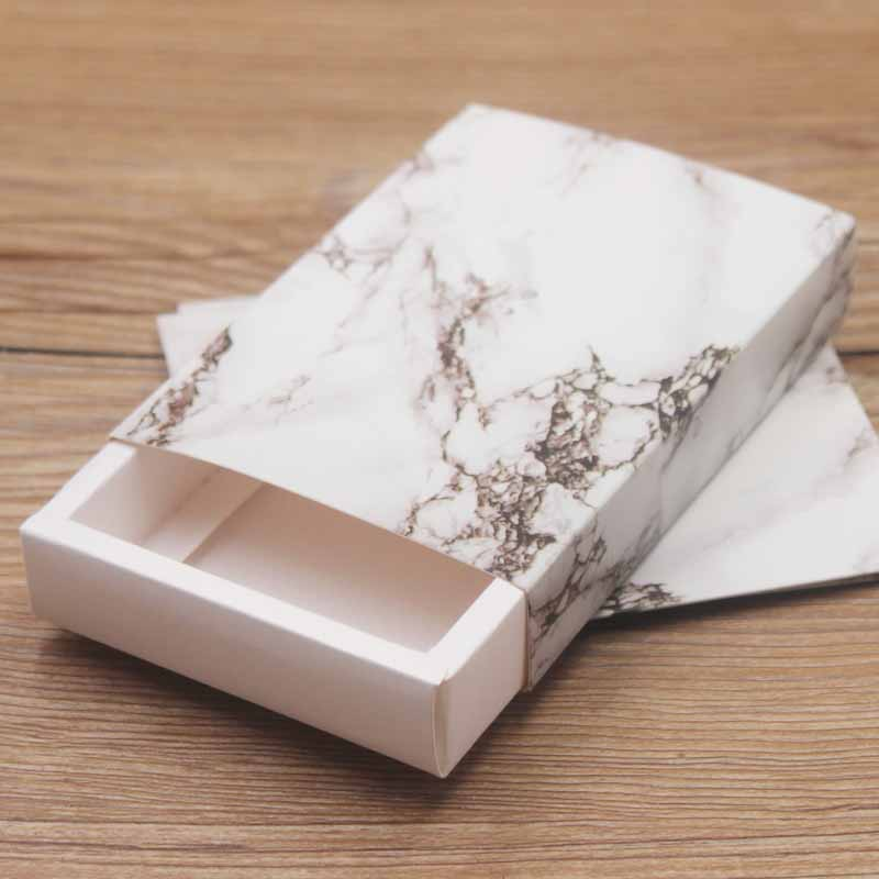 20pcs/lot Big Marble Gifts  Dislay Box Dreamcatcher Kraft Paper Box Romance Print Jewelry Necklace Earring Ring Package Box