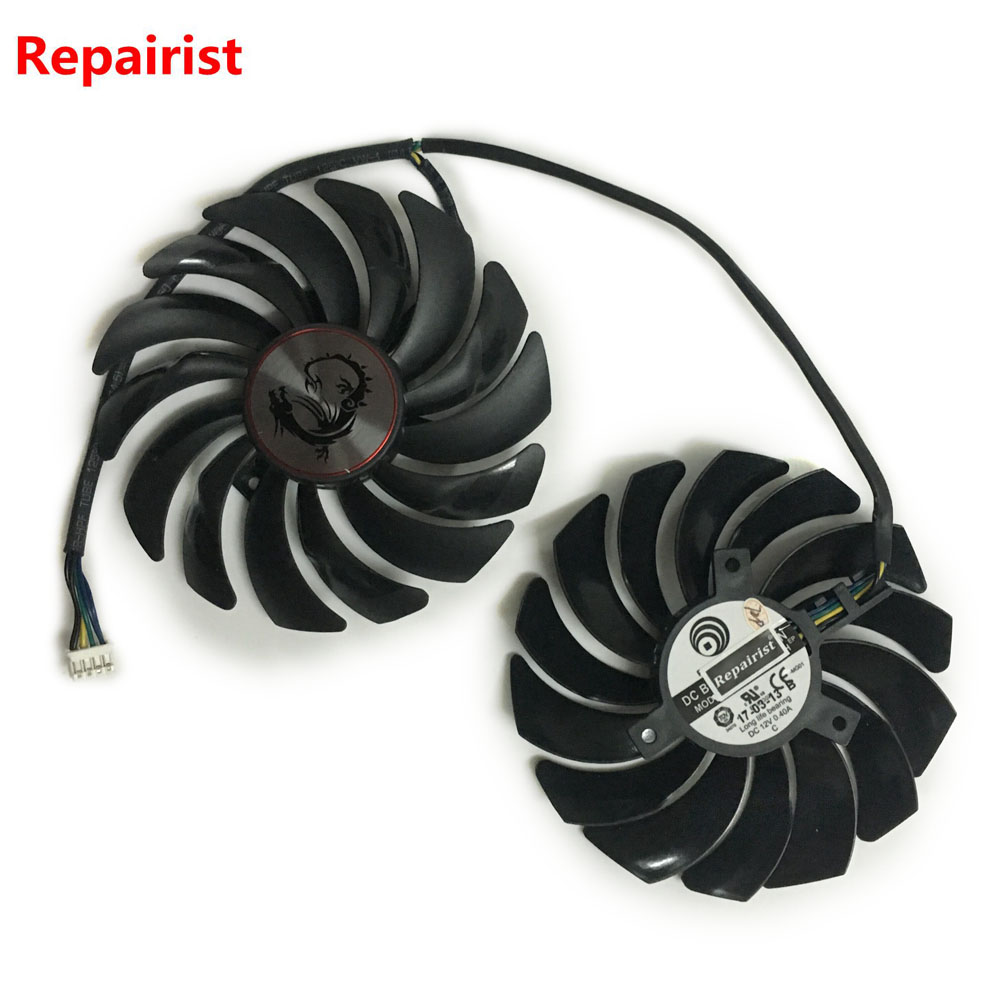 2pcs/lot cooler Fans RX580 RX480 Video Card cooling fan For Radeon RX 480 MSI RX 580 asic bitcoin mine GPU Graphics Card Cooling computer video card cooling fan gpu vga cooler as replacement for asus r9 fury 4g 4096 strix graphics card cooling