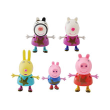 Genuine Peppa Pig 5pcs ABS Plastic Peppa Friends George Suit Soft Birthday Christmas Gift Doll font