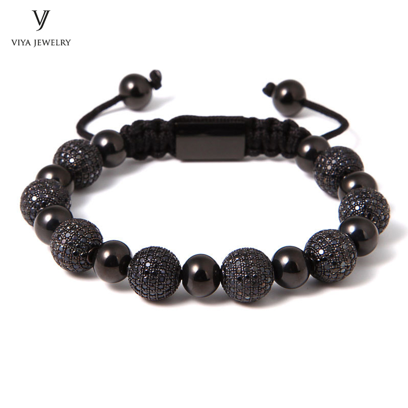 New Fashion Men/Women Jewelry For Watch Luxury Black Brass Drill Ball With Black CZ Beads Steel Beads Macrame Braiding Bracelets tungsten alloy steel woodworking router bit buddha beads ball knife beads tools fresas para cnc freze ucu wooden beads drill