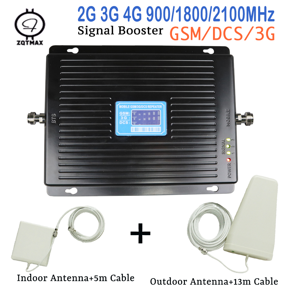 GSM DCS WCDMA Tri Band Mobile Phone Signal Booster 75dB Phone Repeater Smart Amplifier Set  3g 4g Data Signal Booster Full Kits