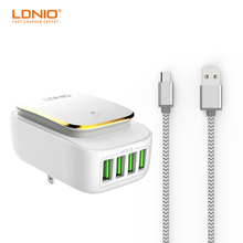 LDNIO A4405 4-Port 4.4A(Max) 22W EU USB Charger Adapter LED Lamp Auto-ID Portable Phone Travel Wall Charger for iPhone Samsung