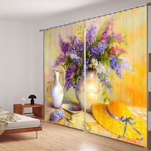 Senisaihon Europe Blackout Curtains Panel 3D Colored Floral Painting Pattern Fabric Bedroom for Living Room Cafe Hotel