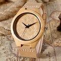 2016 Nueva Moda de las mujeres de Bambú de Madera De Madera Reloj de Pulsera Con Banda de Cuero Genuino Relojes para hombres Reloj Montre Femme